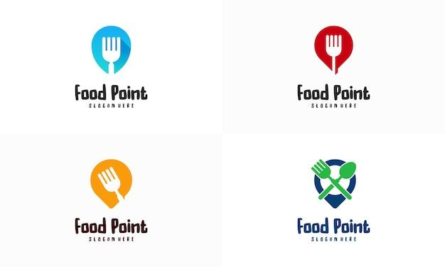 Ensemble de conceptions de logo de point de restauration vecteur de concept, illustration de modèle de conception de logo de restaurant