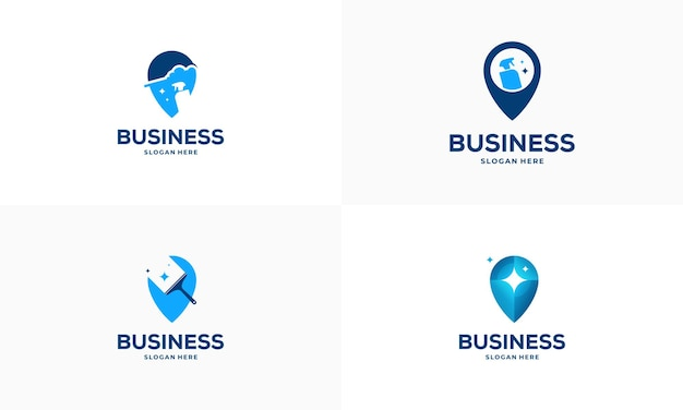 Ensemble de conceptions de logo de point de service de nettoyage vecteur de concept, icône de symbole de logo de pointeur et d'outil de nettoyage
