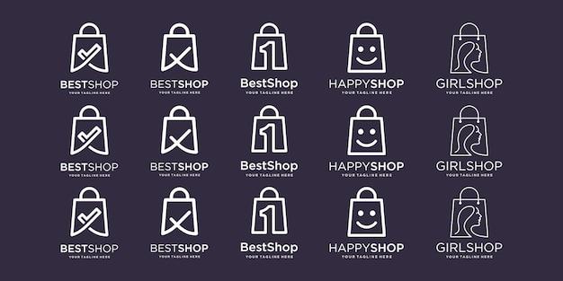Ensemble de conceptions de logo de sac illustration de modèle coche un visage beauté tête heureuse