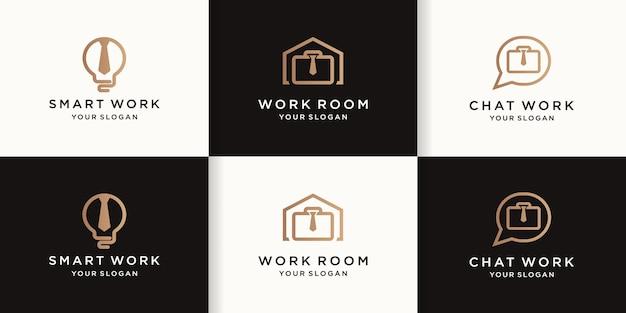 Ensemble de conceptions de logo de travail avec des lignes simples