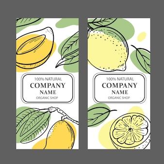 Ensemble de conceptions de magasins biologiques avec des illustrations de croquis de fruits