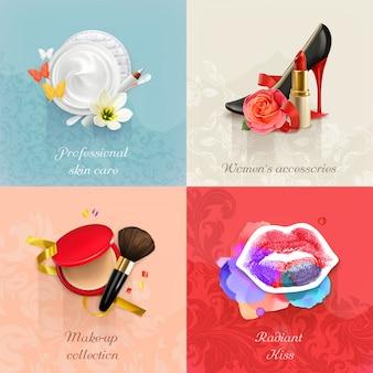 Ensemble de concepts de beauté et cosmétiques s