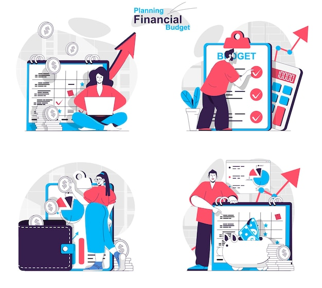 Ensemble de concepts de budget financier de planification comptabilité d'entreprise et épargne en famille