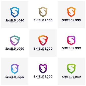 Ensemble de concepts de conception de logo de bouclier s initiale. lettre s bouclier vector illustration design.
