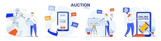 Ensemble de concepts d'enchères vendant des acheteurs de peinture placent des offres en achetant aux enchères en ligne