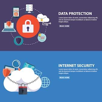 Ensemble de concepts d'illustration vectorielle design plat pour la protection des données et la sécurité internet. concepts pour le modèle de bannières web
