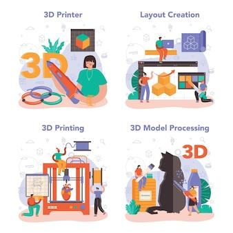 Ensemble de concepts d'imprimante 3d. dessin de concepteur numérique avec des outils électroniques