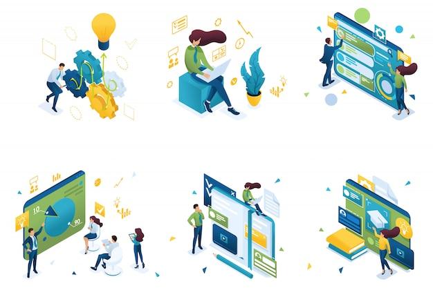 Ensemble de concepts isométriques sur le thème de la formation, formation commerciale, système éducatif.