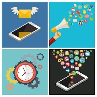 Ensemble de concepts de médias sociaux d'entreprise. plat