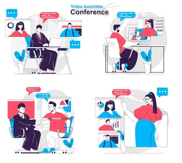 Ensemble de concepts de vidéoconférence d'affaires les collègues discutent des tâches lors d'une réunion en ligne