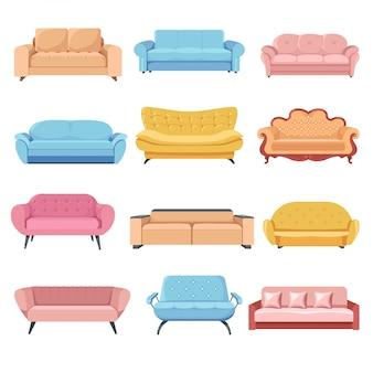 Ensemble confortable, canapés et fauteuils meublés
