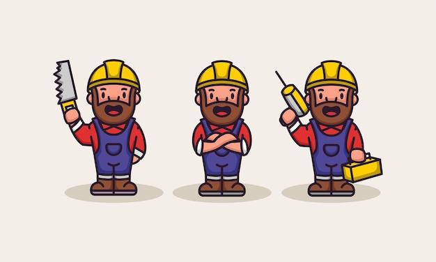 Ensemble de constructeur mignon d'ouvrier de charpentier