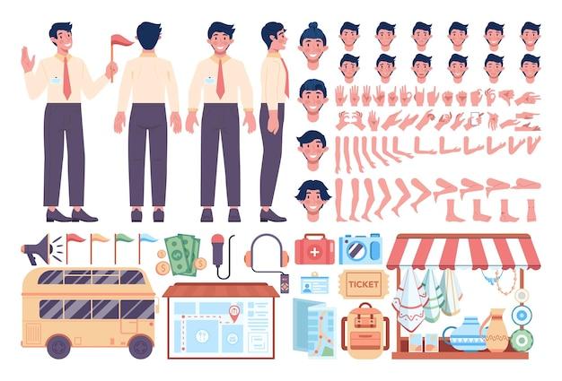Ensemble de constructeurs de guides touristiques masculins. animation touristique en excursion