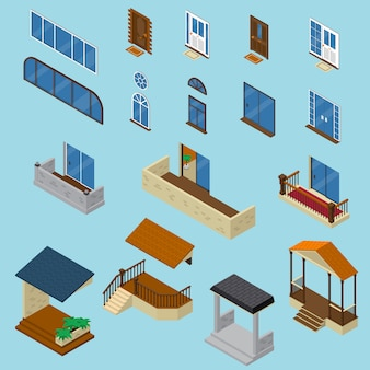 Ensemble de construction de maison isométrique