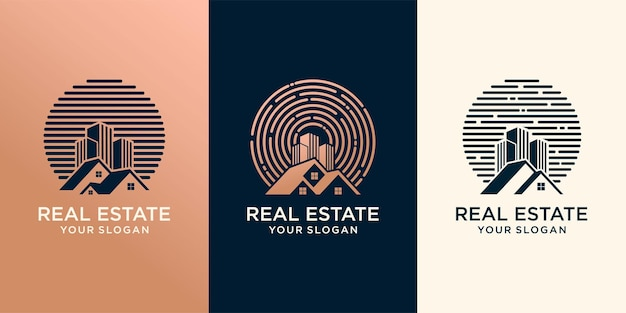 Ensemble de construction de modèle de logo d'entreprise immobilière, résidentiel, développement immobilier et création de logo