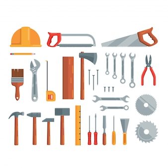 Ensemble de construction d'outils de réparation de construction illustration