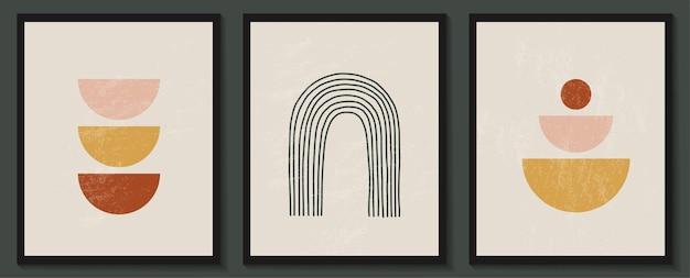 Ensemble contemporain branché de composition minimaliste géométrique abstraite