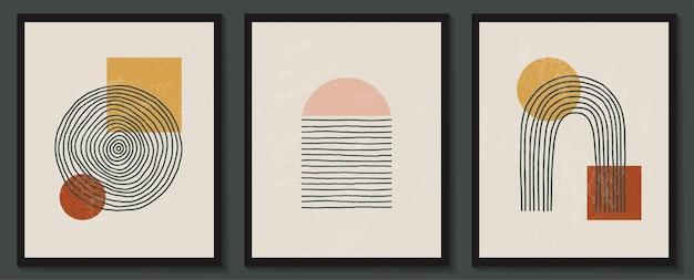 Ensemble contemporain à la mode de composition minimaliste géométrique abstraite