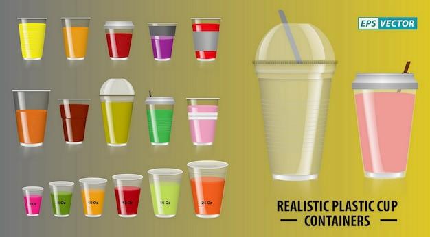 Ensemble de contenants de gobelets colorés réalistes avec du plastique transparent dans des gobelets jetables pour thé au soda