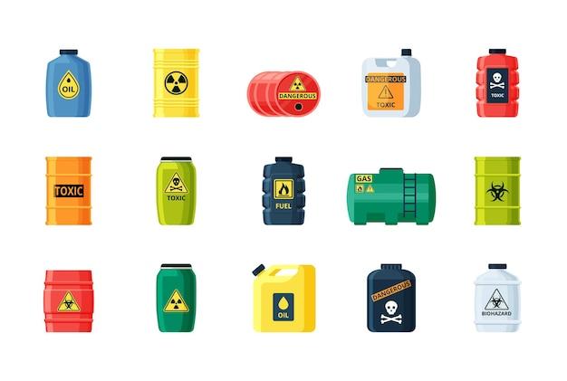 Ensemble de conteneurs de substances toxiques et chimiques.