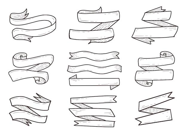 Ensemble de contour de dessin à la main ruban