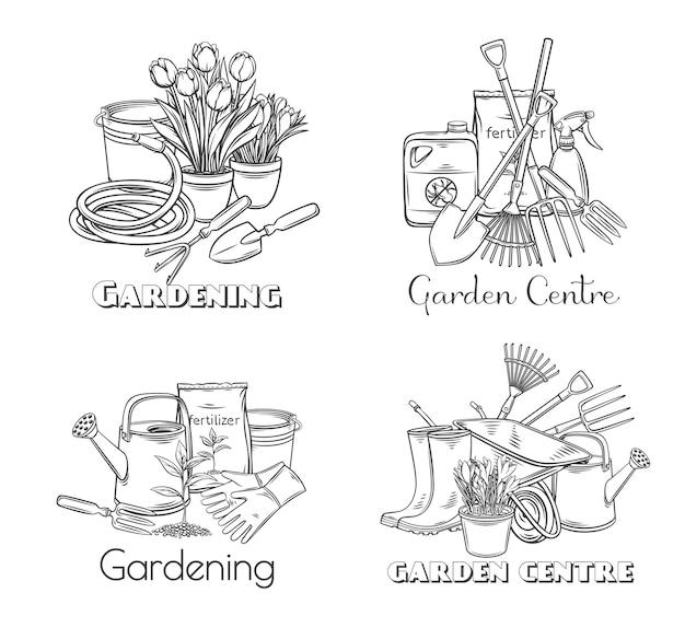 Ensemble de contour d'outils de jardinage