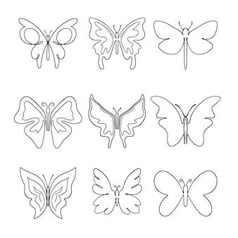 Ensemble de contour de papillon dessiné à la main