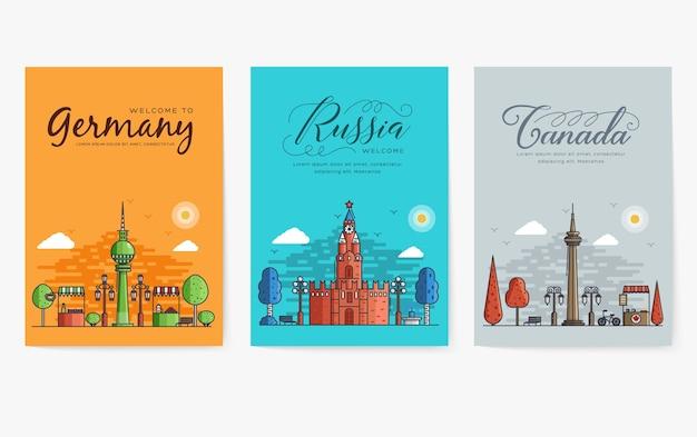 Ensemble de contours de différentes villes pour les destinations de voyage.