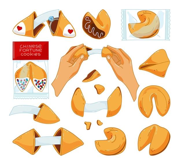 Un ensemble de cookies chinois avec des prédictions sur un fond blanc.