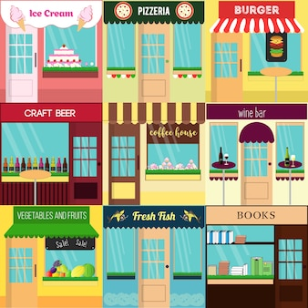 Ensemble cool de vecteur détaillé design plat restaurants et boutiques icônes de façade.
