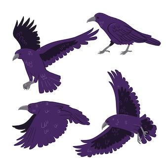 Ensemble de corbeaux isolé sur fond blanc. graphiques vectoriels.