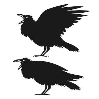 Ensemble de corbeaux noirs