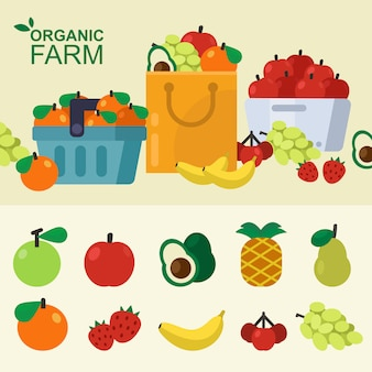 Ensemble de corbeille de fruits frais, sac en papier, chariot, magasin local. illustration vectorielle
