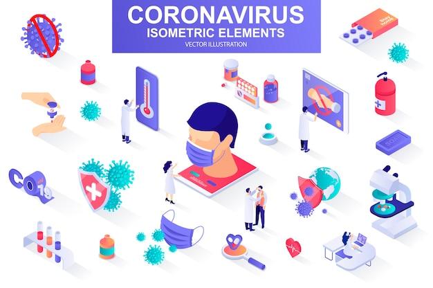 Ensemble de coronavirus d'illustration d'éléments isométriques