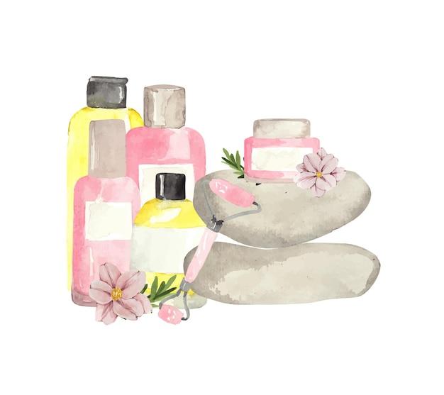 Ensemble de cosmétiques à l'aquarelle pour les soins de la peau et des cheveux