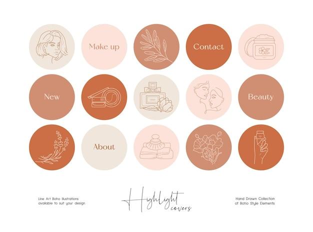 Ensemble de cosmétiques d'art en ligne dessinés à la main et d'illustrations de beauté pour les couvertures des médias sociaux