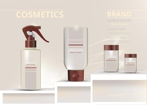 Ensemble de cosmétiques en spray et lotions réalistes