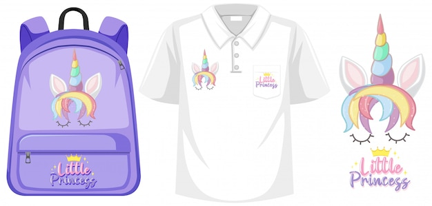 Ensemble De Costume Avec Logo Licorne Vecteur Premium