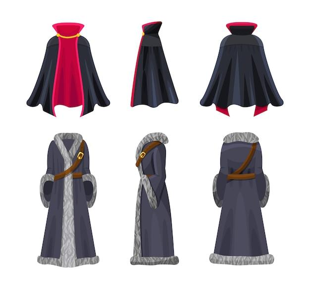 Ensemble de costumes de cape vue de face, de dos et de côté. accessoire vestimentaire des personnages de contes de fées vampire et roi ou chevalier. vêtements pour halloween ou soirée à thème décorés avec des éléments de conception vecteur plat