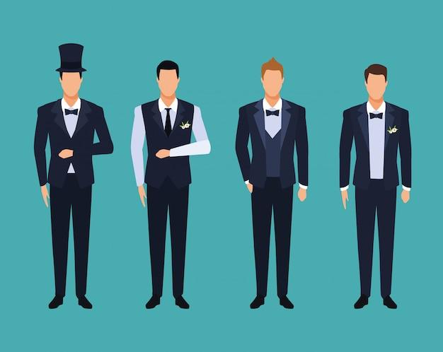 Ensemble de costumes de mariage