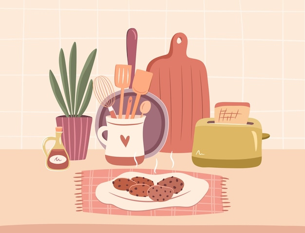 Ensemble cosy d'ustensiles de cuisine concept de cuisine cosy