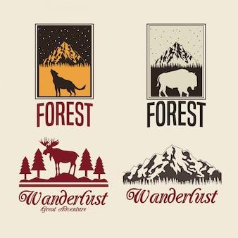 Ensemble de couleur beige avec rectangle cadre logo forêt avec animaux silhouette wanderlust
