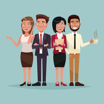 Ensemble de couleur de fond corps complet de personnages de cadres pour les entreprises