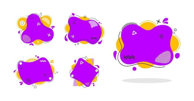 Ensemble de couleur liquide d'éléments abstraits
