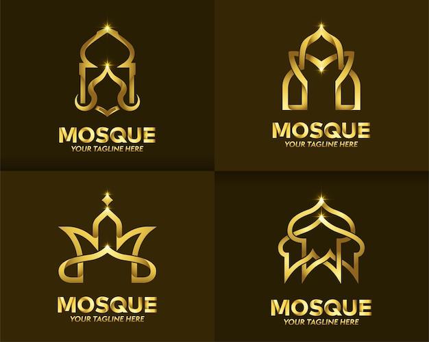 Ensemble de couleur or islamique et logo de luxe
