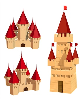 Ensemble de couleurs de châteaux et de drapeaux sur un blanc.