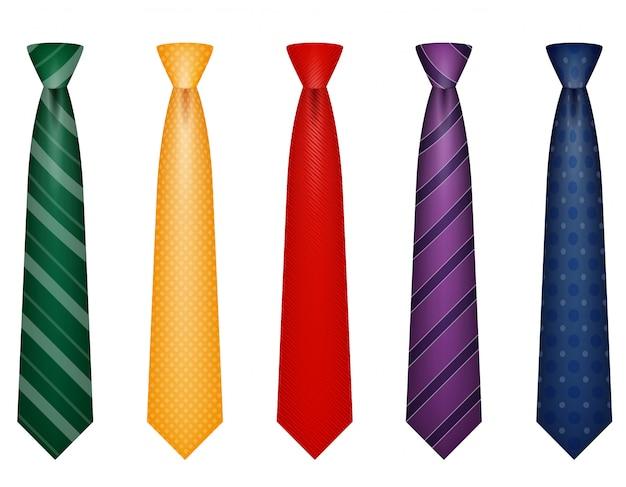 Ensemble de couleurs cravate pour hommes une illustration vectorielle de costume