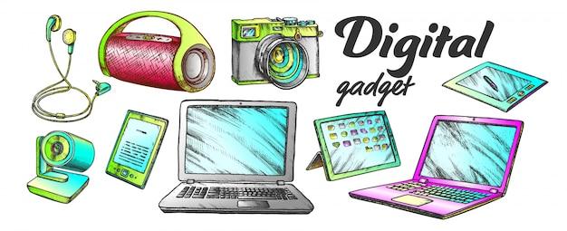 Ensemble de couleurs de gadgets audio et vidéo numériques
