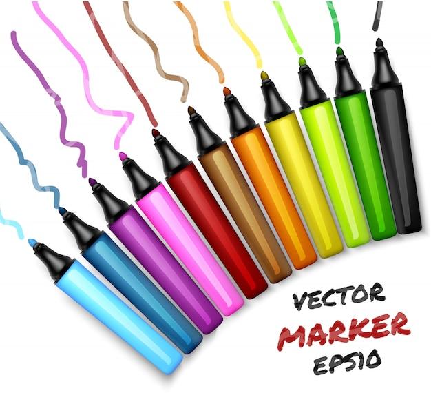 Ensemble de couleurs ouvrent le stylo de marqueurs permanents. illustration de feutre