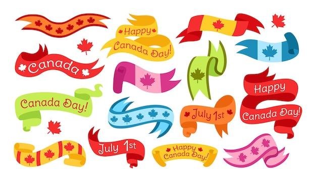 Ensemble de couleurs plates de ruban joyeux jour du canada, bande de ruban de drapeau lumineux